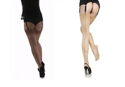 Gio Fully Fashioned Stockings Back Seam  Contrast Cuban Heel Nylons Hosiery RHT