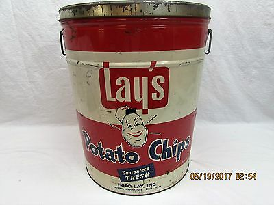 Lays Potato Chips Tin Metal Can Frito-Lay