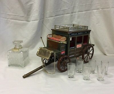 Wells Fargo Coach Music Box with Decanter and 6 shot glasses