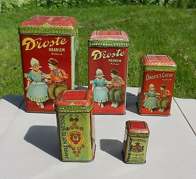 Lot of 5 Droste Cocoa Advertising Tins 2 Samples Nice Lot!