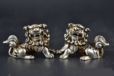 Collectible Old Tibet Silver Carve Lion Guarder Lion Pair Statue Lucky