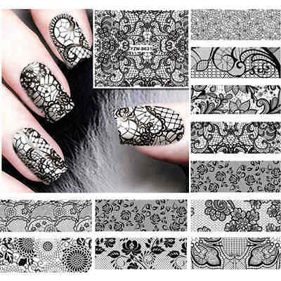 12 Styles Black Lace Nail Art Agua Transfer Decal Sticker decocción manicure