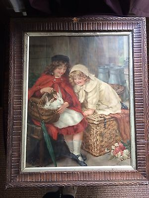 Antique Picture Two Little Girls & Rabbit ( Small Damage To Frame)