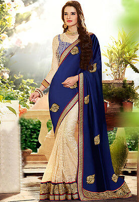 indian pakistani party/wedding wear elegant blue and cream lace sari