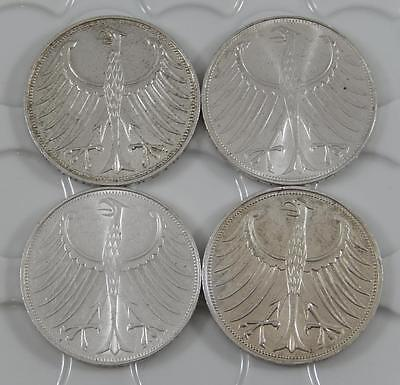 1971-G 1971-J 1972-G 1972-J West Germany 5 Mark Silver 4 Coin Lot A0668