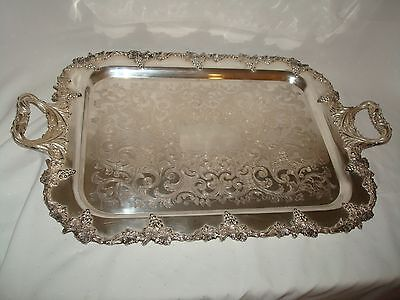 Large Serving Tray Norman Silver Plate Mid Century Old English Reproduction