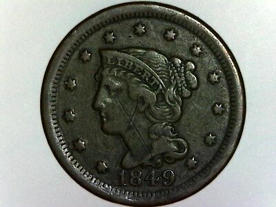 1849 US 1C One Large Cent Copper Coin