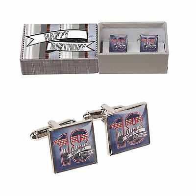 "18th Birthday Gift-Silver Style ""DENIM COLLECTION"" METAL CUFF LINKS in a BOX-NEW"