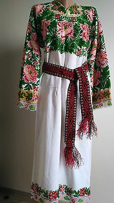 Ukrainian vintage embroidered dress with beads, S-M, handiwork