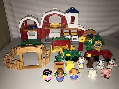 Fisher Price Little People Barn Playset w/Sounds Farm Tractors Animals
