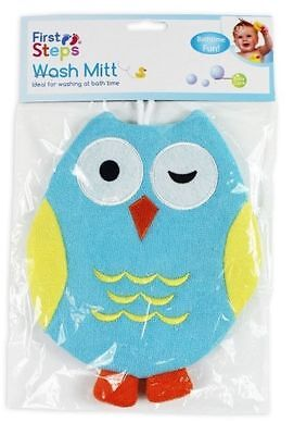 Blue Terry Sponge Lined Kids Owl Bathtime Wash Mitt