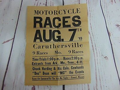 Vintage Motorcycle Racing Flyer Poster Advertisement 1949 Caruthersville MO