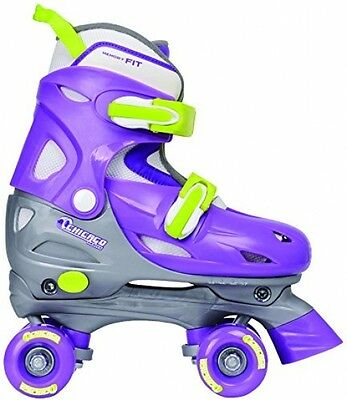 OpenBox Chicago Girl's Adjustable Quad Skate, Purple/Silver, Small