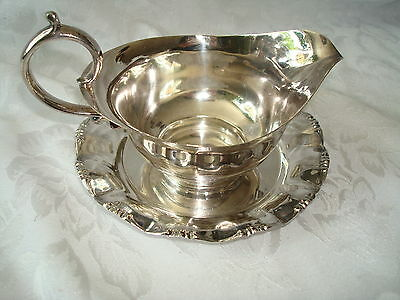 Sheffield Silver Co. Vintage Silver Sauce Gravy Boat & Underplate