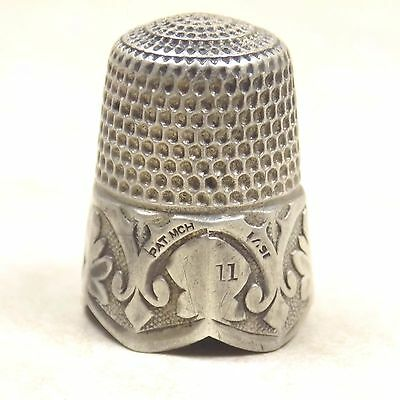 Vintage Simons Brothers Silver Thimble Ornate Design Size 11 Antique