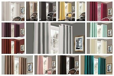 Blackout Curtains Eyelet Ring Top Thermal Fully Lined Solar Pair Ready Made Ties