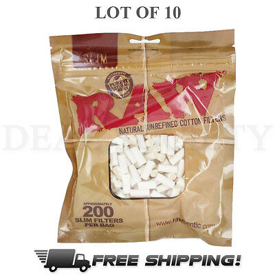 RAW Slim Filter Tips - 100% Cotton - Length 15mm and Diameter 6mm - 10 Pack