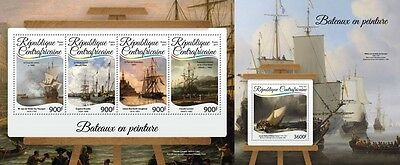 Z08 IMPERF CA17203ab CENTRAL AFRICA 2017 Ships in paintings MNH ** Postfrisch Se