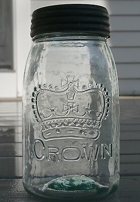 Antique CROWN Aqua canning / fruit jar w/zinc lid and glass crown top,wavy glass