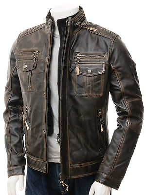 Mens Vintage Distressed Faded Seams Cafe Racer Cowhide Leather Jacket