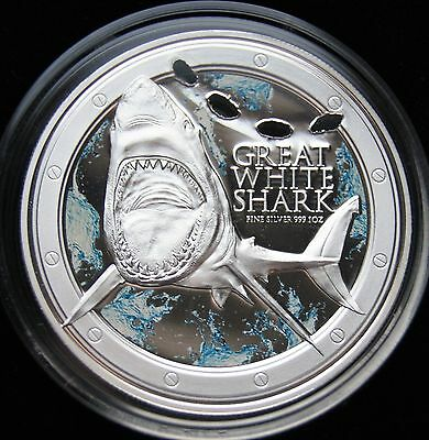 2012 Niue Great White Shark One Ounce Silvere Proof Coin. Ocean Predators Series