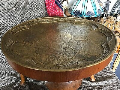 Old Turkish Brass Tray Toped Table …beautiful accent piece