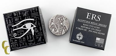 2016 5oz Silver Republic of Chad Egyptian Relic Series King Tut Coin 3000 Francs