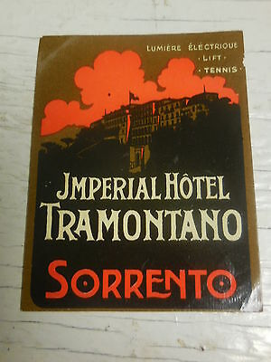 Authentic old  luggage litho label for Imperial Hotel TRAMONTANO-SORRENTO-NAPOLI