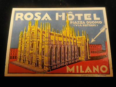 Authentic old  luggage litho label for Rosa Hotel  Piazza Duomo Milano-Italy