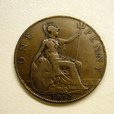 1912 Great Britain Penny Coin