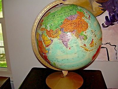 "Vintage Replogle 12"" World Nations Globe Raised Relief"