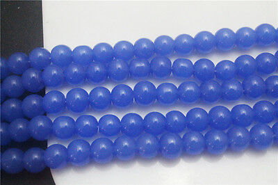 DIY Wholesale 40Pcs Blue Round Crafts Crystal Glass Beads Spacer 8mm ZD88