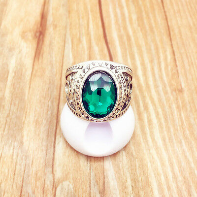 Beauty Vintage Jewelry Stainless Steel Fashion Green Ring Size 10 RG07