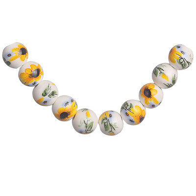 20pcs Yellow Flower Round Porcelain Loose Beads Spacer Jewelry Findings 10mm