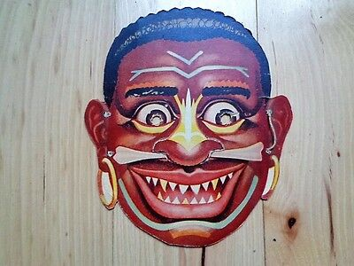 Vintage MidC Cereal Box Promotional Pygmy Cannibal Black Face Head mask