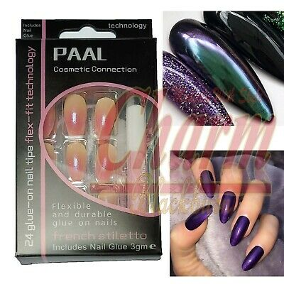 Long Lasting Flex Acrylic Artificial Fake Press On Nails Set French Tips Glue
