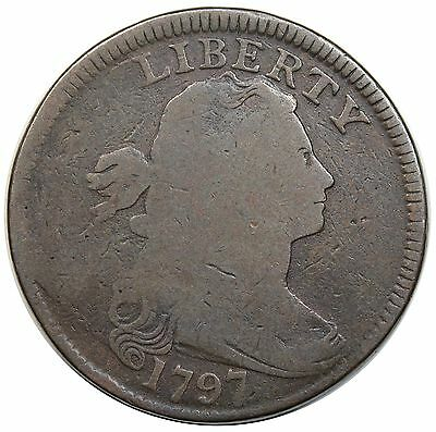 1797 Draped Bust Large Cent, Reverse of '97, Stems, S-139, nice G+