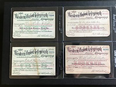 Western Union Telegraph Company with Various Railroads Lot of (4) 1898 - 1908