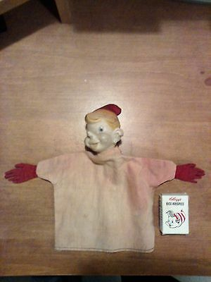 Vintage KELLOGG'S RICE KRISPIES CEREAL Crackle Hand Puppet W/ SMALL CERIAL BOX