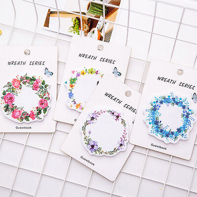 2 x cartoon Floral Garland memo pad cat paper sticker sticky note stationery