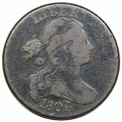 1807/6 Draped Bust Large Cent, Large Overdate, S-273, VG+ detail