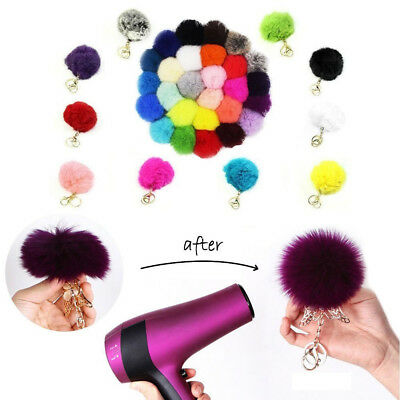 Xmas Handbag Key Ring Rabbit Fur Ball PomPom Cell Phone Car Pendant Keychain
