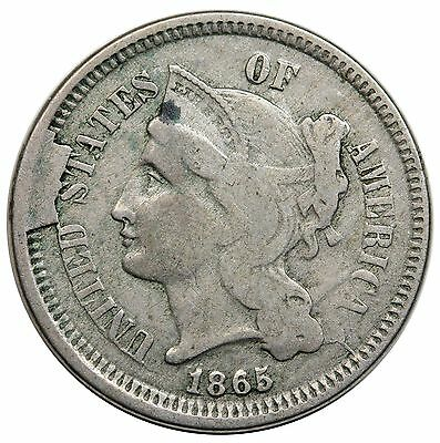 1865 3 Cent Nickel, obverse cud, VF