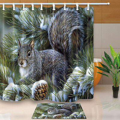 Cute squirrels Bathroom Decor Shower Curtain Waterproof Fabric w/12 Hook new
