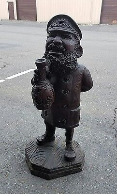 Vintage wood carved sailor fisherman Nautical art statue figure carving wooden
