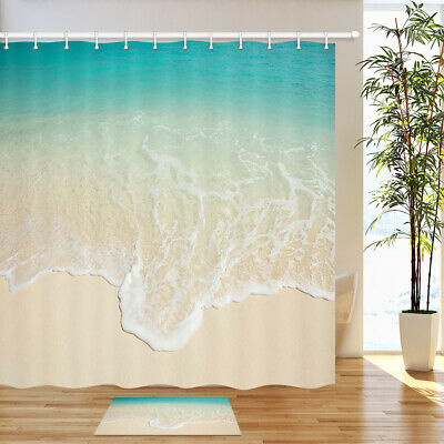 Turquoise beaches Bathroom Decor Shower Curtain Waterproof Fabric w/12 Hook