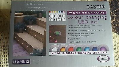 NEW Micromark colour changing LED waterproof outdoor deck x10 light kit 70mm