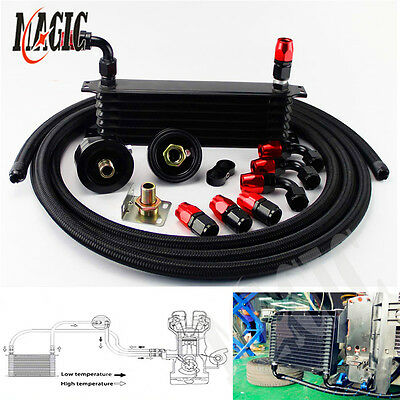 7 Row Universal Engine Oil Cooler + Filter Relocation + 5M An10 Oil Line Kit Bk