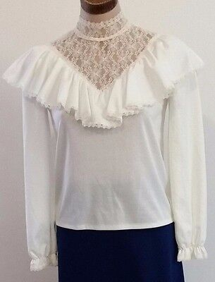 Vintage 1970s Styled by Eve CREAM High Neck Lace Victorian Blouse Top size 8