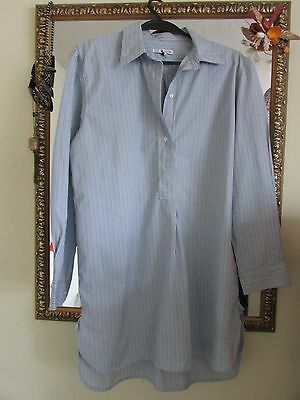 Ladies Long Cotton Shirt Blue/black White Striped Size 8 - Marks And Spencer